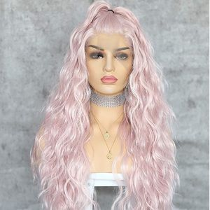 "💫  LURI 22"" BABY PINK WAVY LACE FRONT WIG💫 *NWT*"